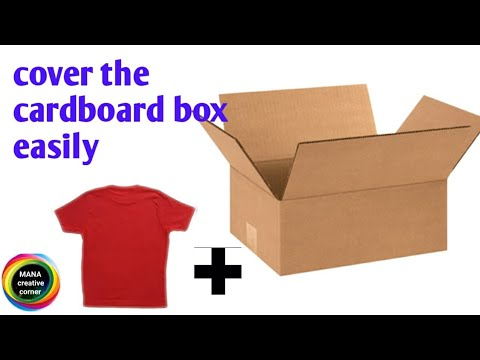 DIY Cardboard box makeover by an old T- shirt#make easy fabric cardboard storage box/bin