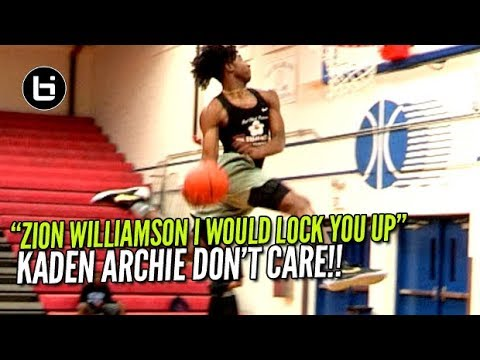 """Kaden Archie Tells Zion Williamson """"Try And Dunk On Me"""" Baggage Claim Boys Open Gym!"""