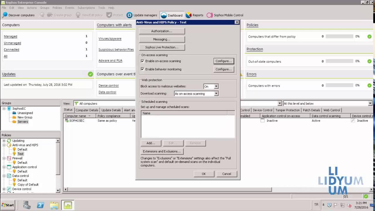 Sophos Enterprise Console Anti-Virus & HIPS Yapılandırma