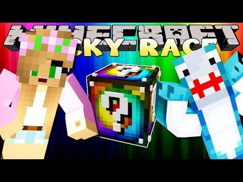 Minecraft Little Kelly : RAINBOW LUCKY BLOCK RACE W/ Sharky Adventures!
