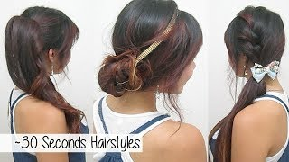 ~ 30 Seconds Hairstyles (TIMED!) l Quick Cute & Easy School Hairstyles