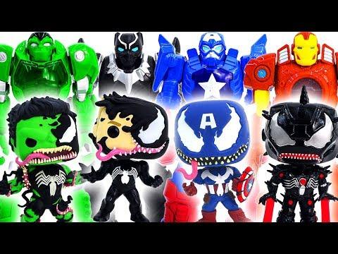 Power Rangers & Marvel Avengers Toys Pretened Play | Vemomized Hulk, Captain, IronMan vs Mech Armors
