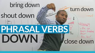 """DOWN"" Phrasal Verbs in English: close down, bring down, break down..."