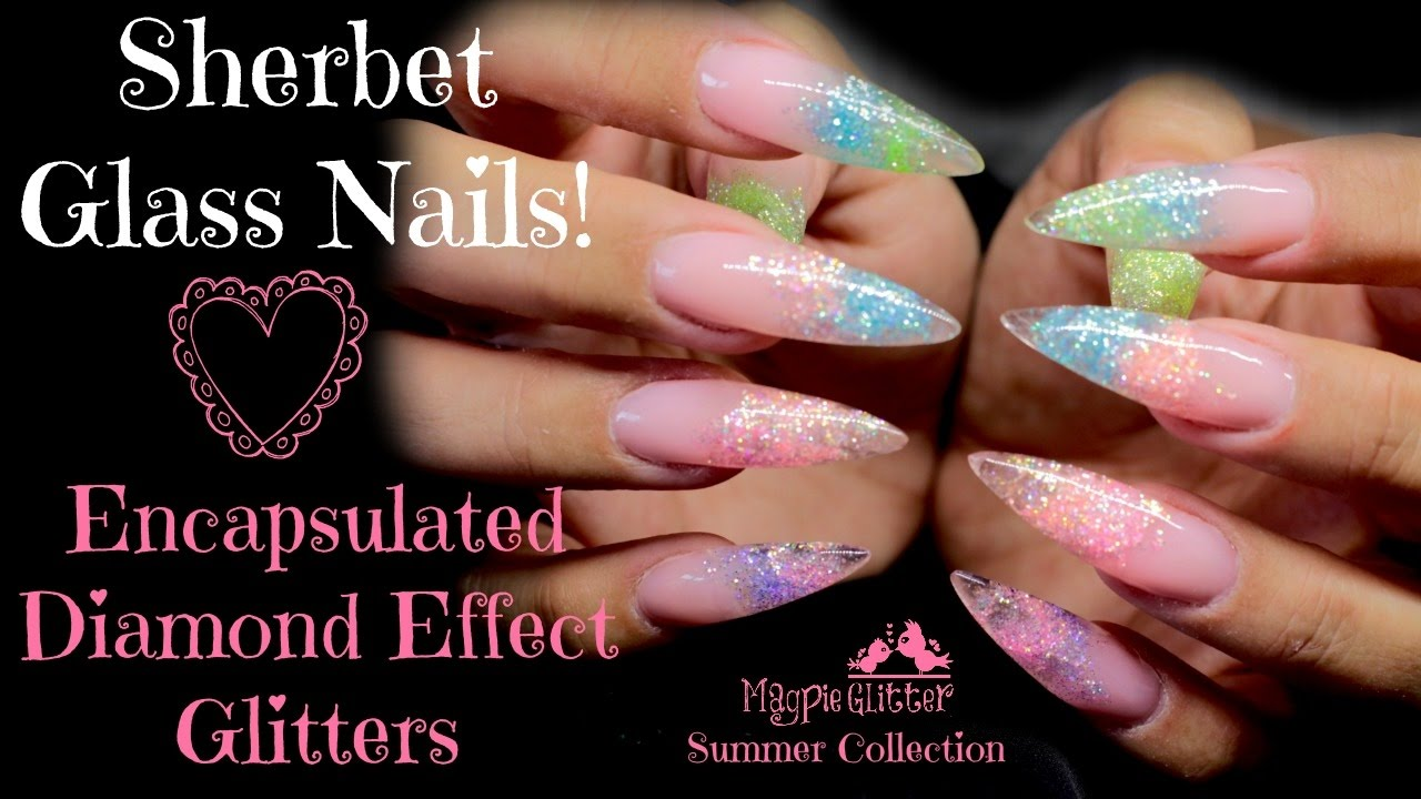 🍬SHERBET GLASS | CLEAR ENCAPSULATED GLITTER ACRYLIC NAILS🍬 - YouTube