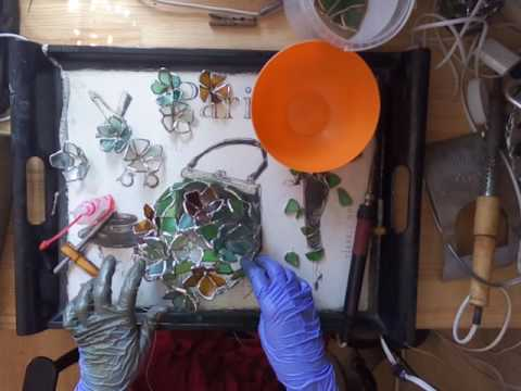 Sea glass stained glass flower lamp - soldering