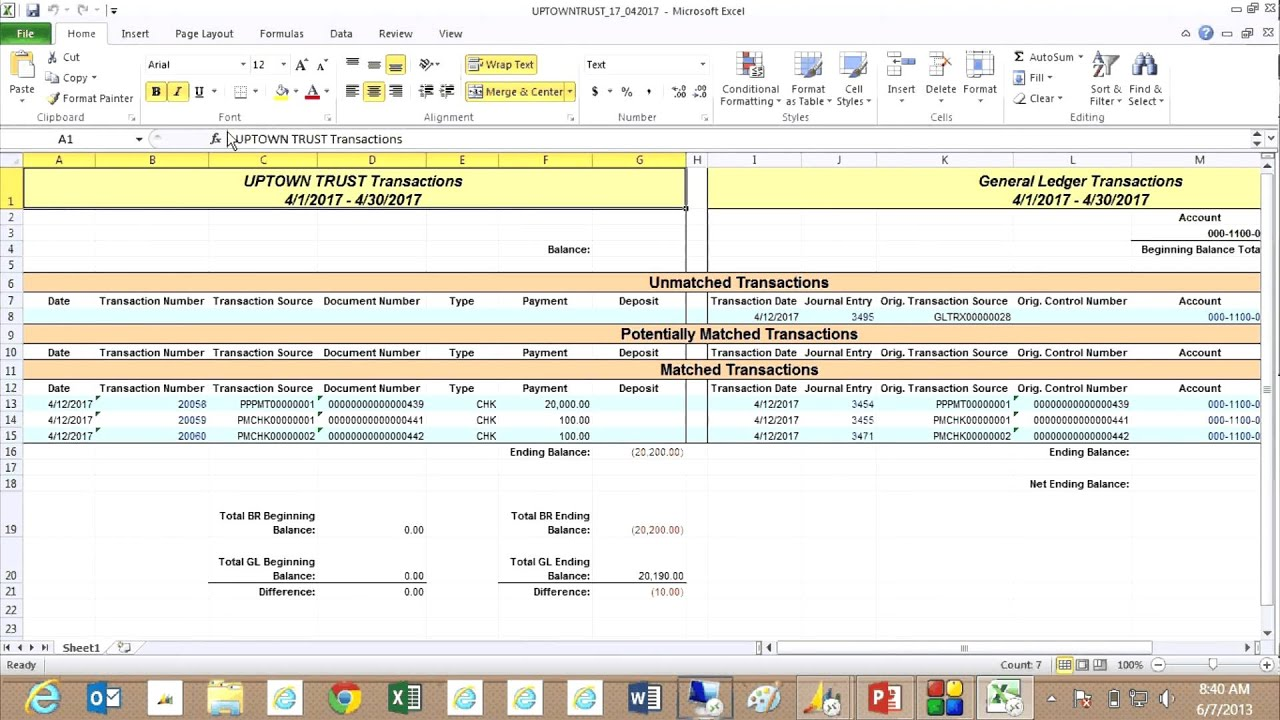 bank reconciliation reconcile to gl