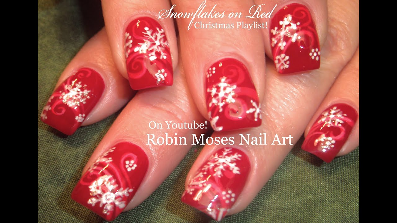 Easy Snowflake Nails | Christmas Nail Art Design Tutorial - YouTube
