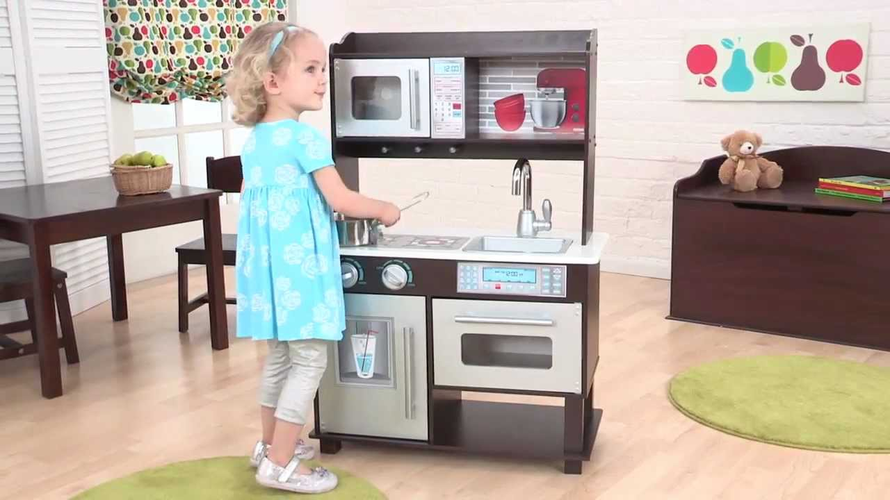 "kidkraft ""wooden"" espresso toddler kitchen - item 53272 - youtube"