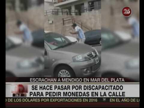 Canal 26 -Escrachan a mendigo en Mar del Plata que se hace pasar por discapacitado