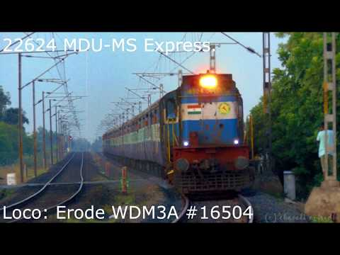 Extreme Honking : Rusty Erode WDM3A #16504 shows its power with 22624 MDU-MS Mahal Express @95kmph.