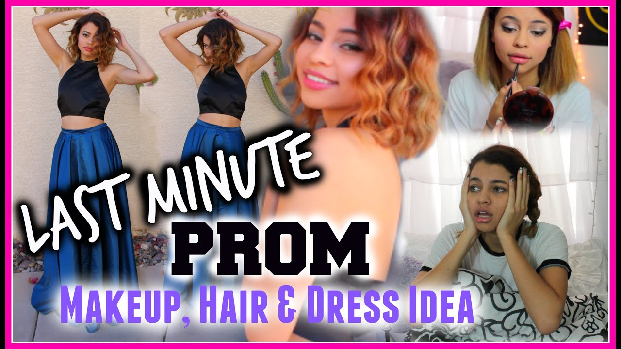 Last Minute Prom Makeup, Hair & Dress Idea - YouTube