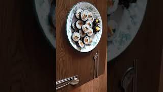 김밥kimbap과 어묵국fish cake soup