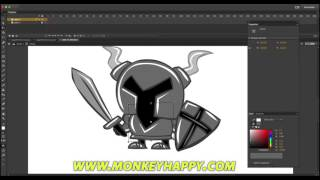 How to Draw and Animate in Adobe Animate CC - Drawing and animating a cartoony Knight