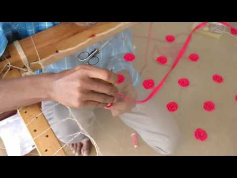 Making Ribbon Flower using hand embroidery