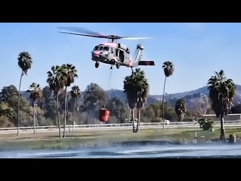Navy Helicopters Help Fight California Wildfires (Dec 2017)