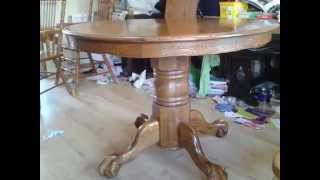 Round dining table,carved, lion shape, extendable, solid oak,105-150CM