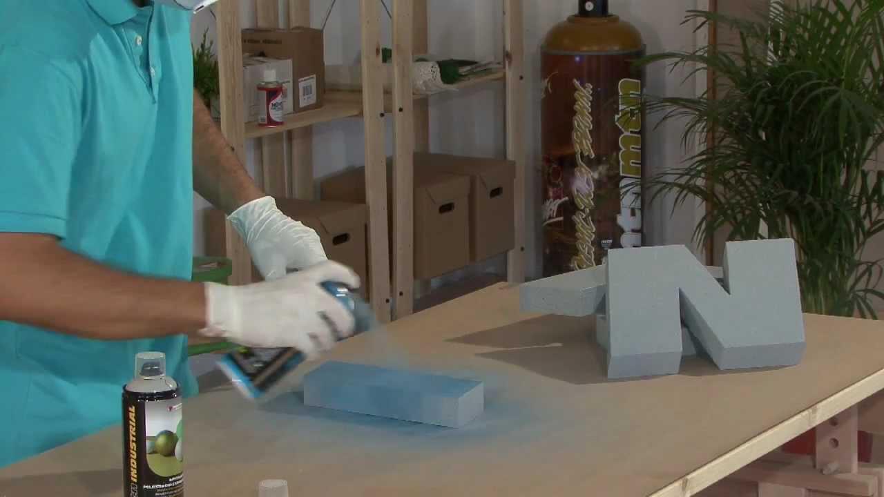 Tutorial  Cómo pintar letras de Porex (poliestireno) con spray paso a paso  - YouTube 572949e3eab