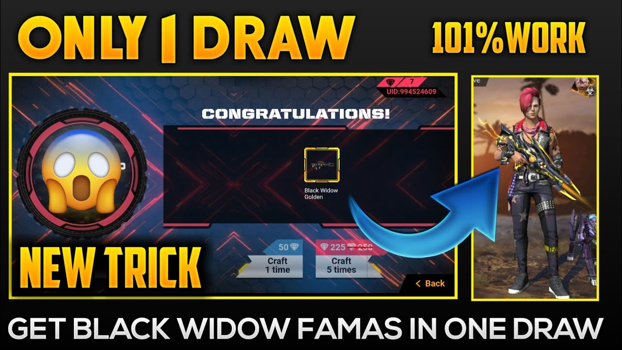 How To 101 Free Black Widow Fumus Get Famas In One Draw How To Get Free Guns Crate In Free Fire