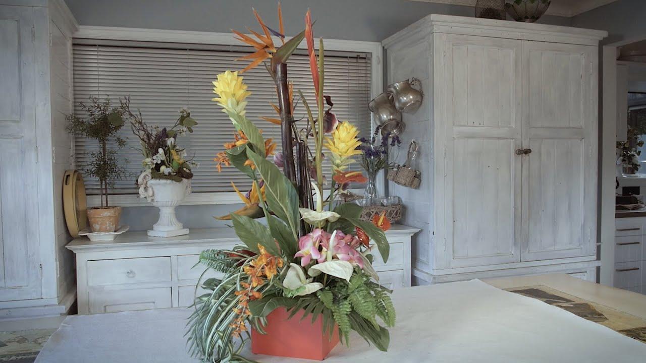 Artificial Tropical Flower Arrangement Floristry Tutorial Youtube