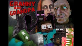 Monster School: GRANNY & GRANDPA  WTF HORROR GAME CHALLENGE - Minecraft Animation