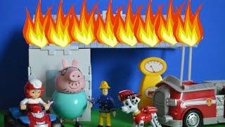 Paw Patrol Episode Marshal Fireman Sam Daddy Pig Fire At the Garage Ryder Nickelodeon