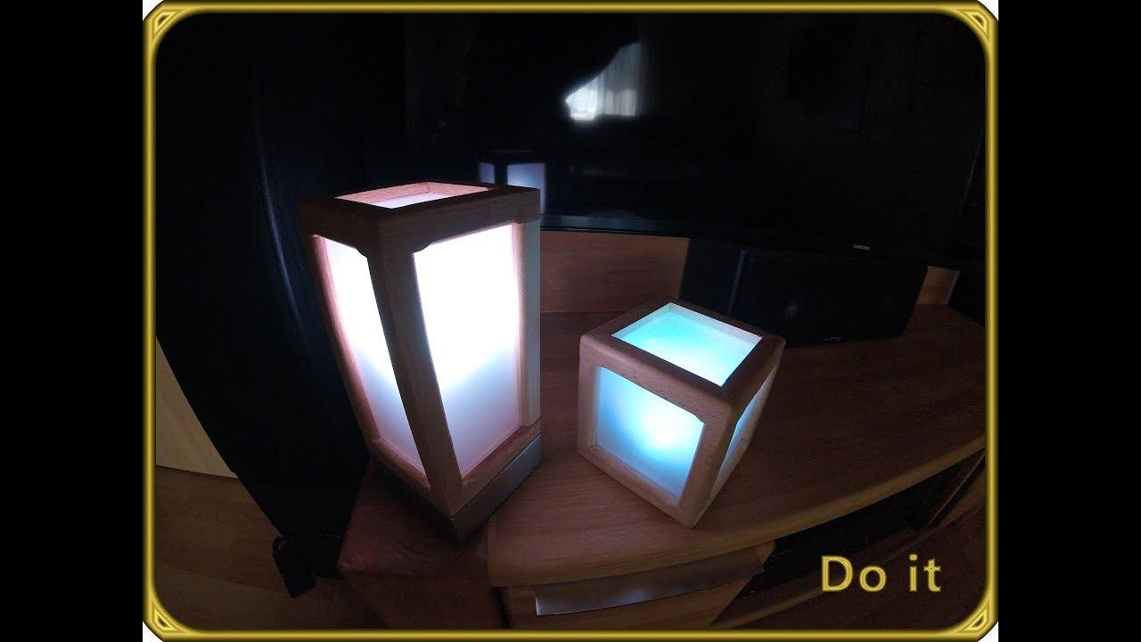 nachttischlampe w rfel lampe teil 1 2 selber bauen led rgb youtube. Black Bedroom Furniture Sets. Home Design Ideas