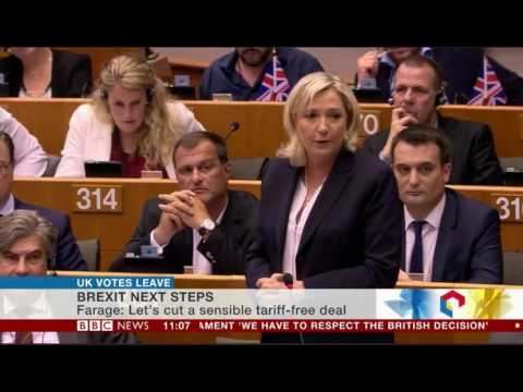 Marine Le Pen French National Front Leader supports UK leaving the EU