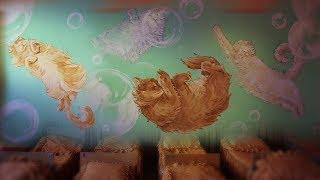 Роспись стен спальни в детском саду | Летающие коты