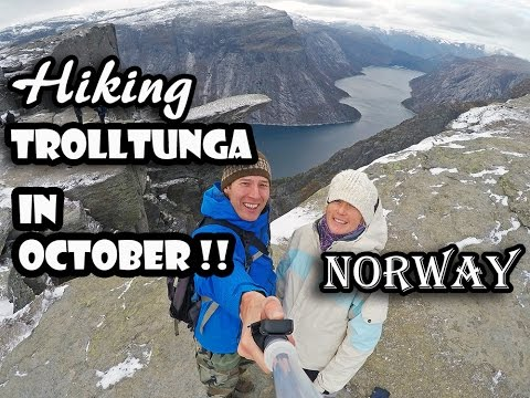 Hiking to Trolltunga Trolls Tongue in Late October Norway Great Hike Exposure