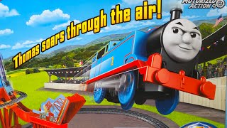 THOMAS TRACK MASTER SKY HIGH BRIDGE JUMP - NO 1 BLUE ENGINE JUMPS OVER 2 FEET IN THE AIR