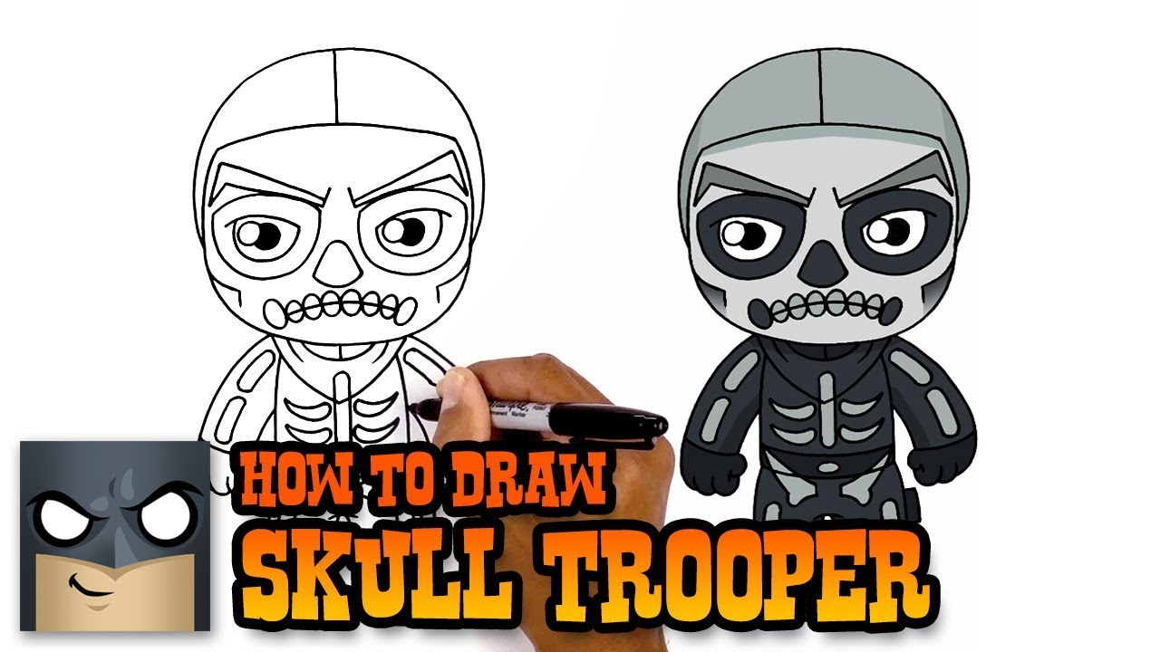 Fortnite How To Draw Skull Trooper Art Tutorial Youtube