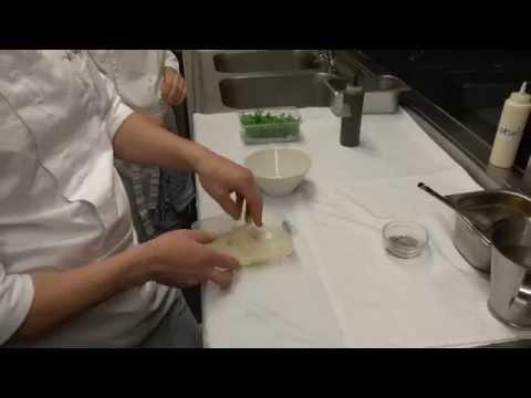 Michaël Vrijmoed prepares an appetiser at his Michelin star restaurant in Belgium