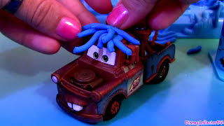 Play Doh Mater Prank Lightning McQueen & Snot Rod with Flames Pixar Cars2 Luigi Guido Disneyplaydoh