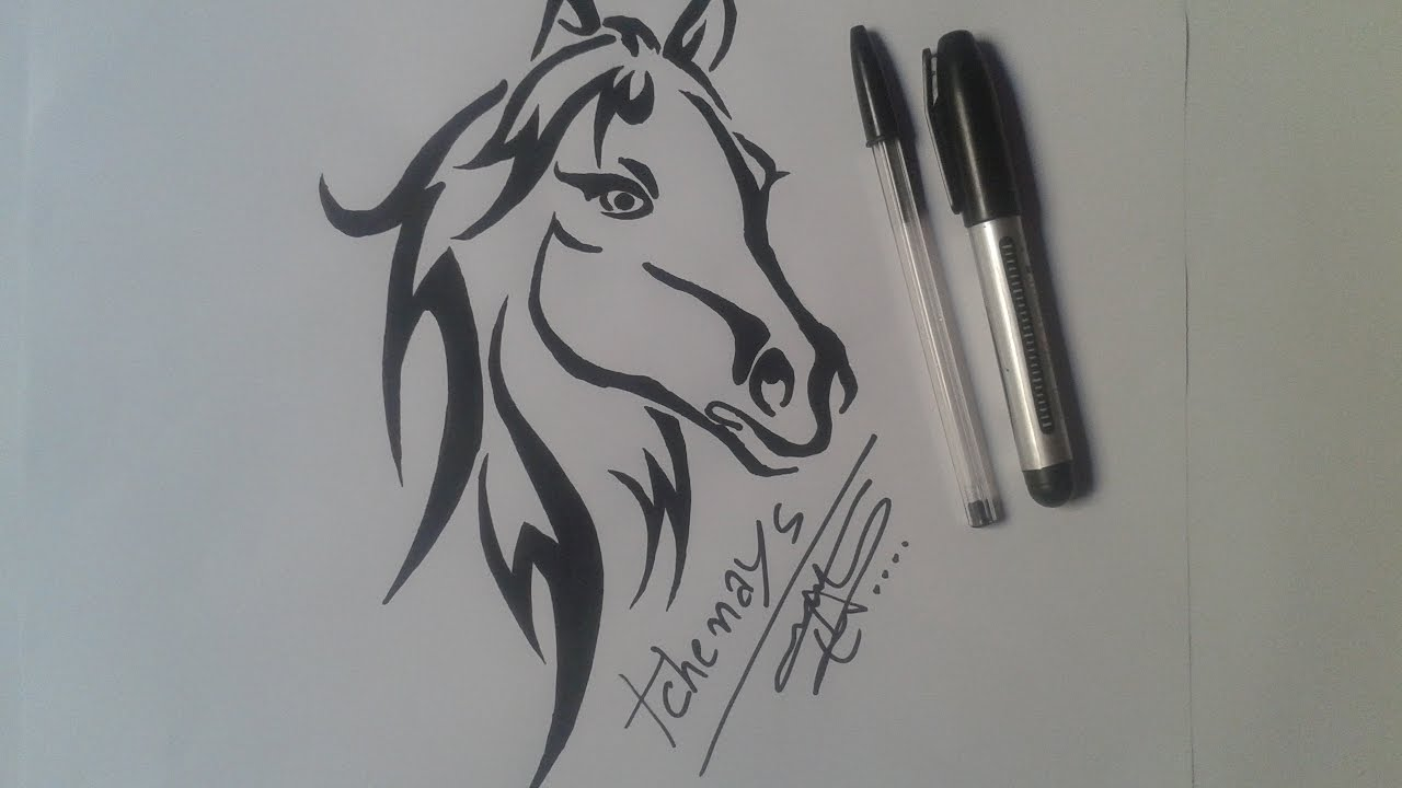 How To Draw Horse Tattoo طريقة رسم فرس Draw Speed Youtube
