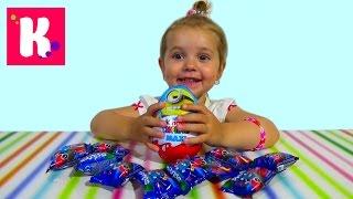Киндер Макси Миньйоны и пакетики сюрприз с игрушкой Стикизы Kinder Maxi Minions unboxing surprise