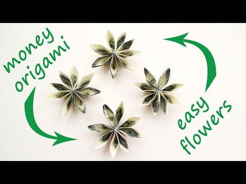 EASY Money FLOWERS Origami Dollar Tutorial DIY Folded No Glue And Tape