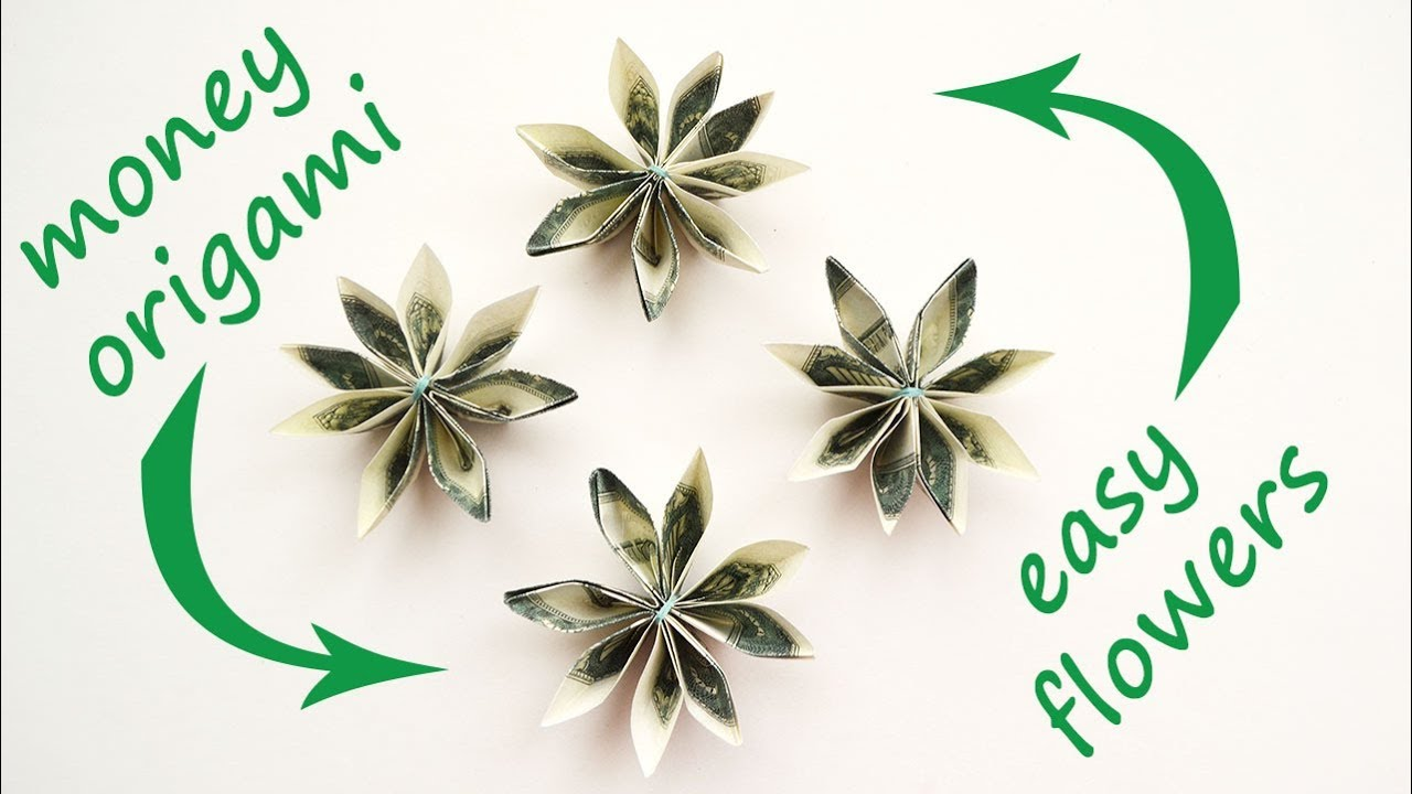 Easy Money Flowers Origami Dollar Tutorial Diy Folded No Glue And