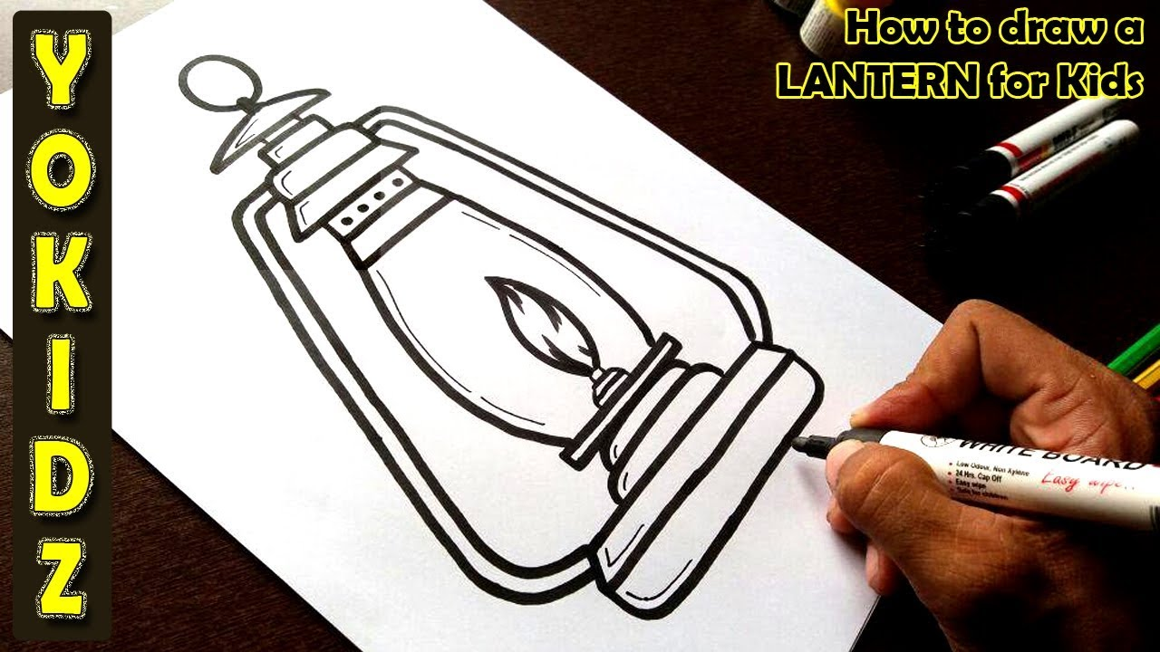 How To Draw A Lantern Easy Youtube