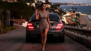 Girl takes a Mercedes C63 AMG out for a spin!
