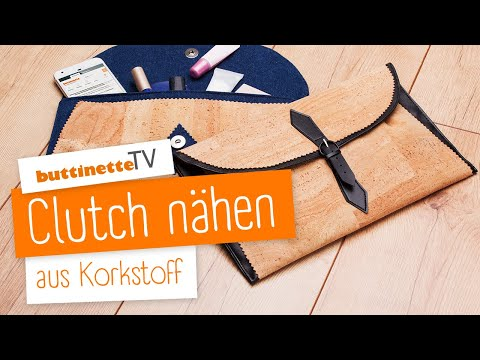 clutch aus korkstoff selber n hen anleitung buttinette tv youtube. Black Bedroom Furniture Sets. Home Design Ideas