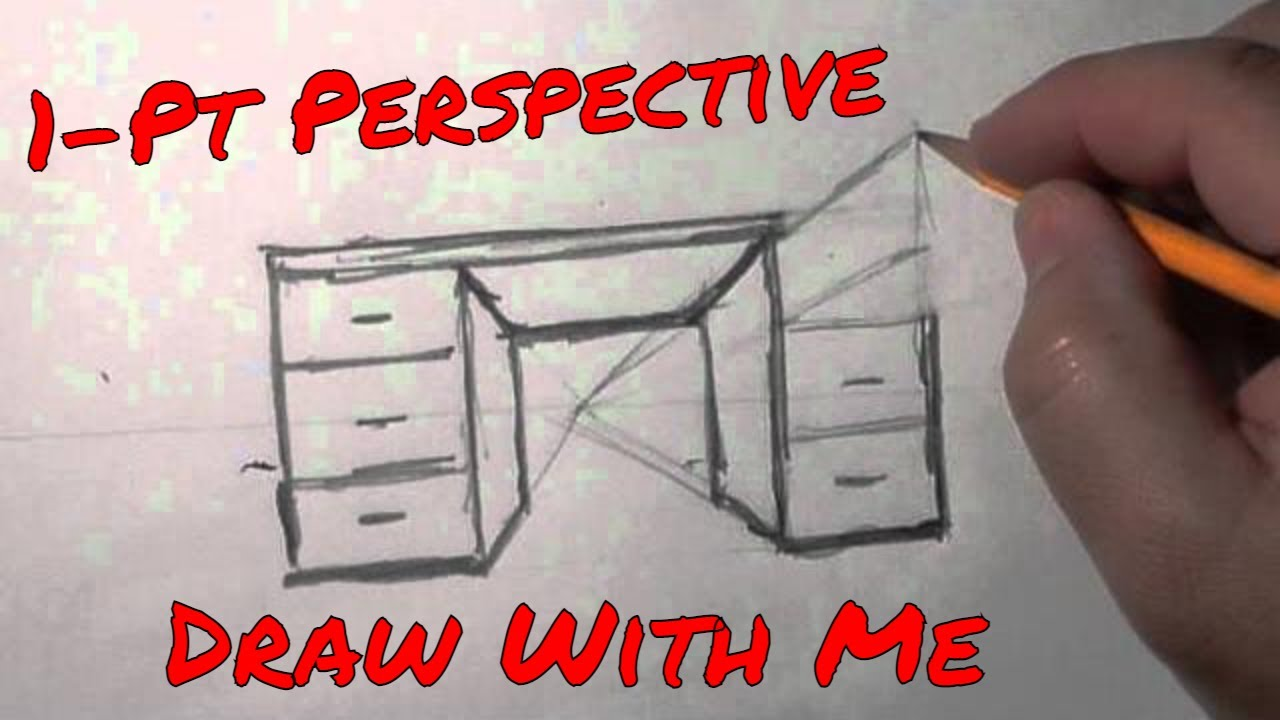 1 Pt Perspective Desk A basic quick howto draw lesson
