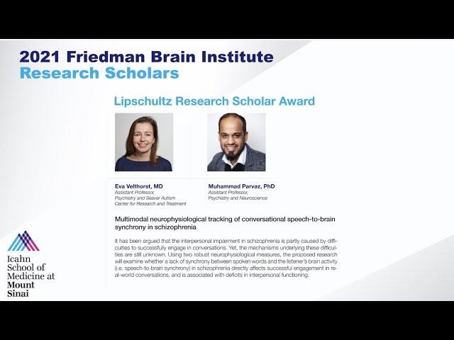 FBI Research Scholars: Eva Velthorst, MD and Muhammad Parvaz, PhD