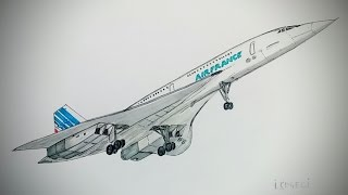Concorde, Air France,drawing timelapse