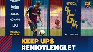 Lenglet touches the ball for the first time as a Barça player