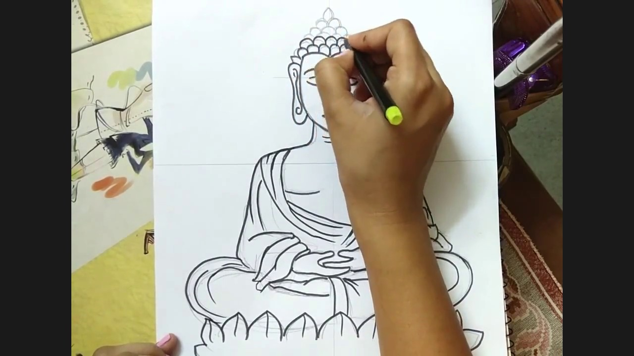 How to draw lord buddha easy easy drawing buddha tutorial