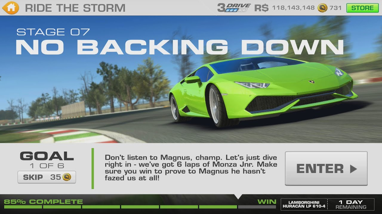 ride the storm lamborghini huracan stage 07 goal 1 of 6 real racing 3 youtube. Black Bedroom Furniture Sets. Home Design Ideas