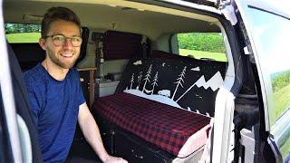Engineer builds a campervan in a Dodge Grand Caravan   Solar electricity, running water, fridge