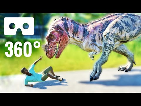 VR 360 Video Dinosaur Attacks & Eats Human In Jurassic Park 360° World Virtual Reality
