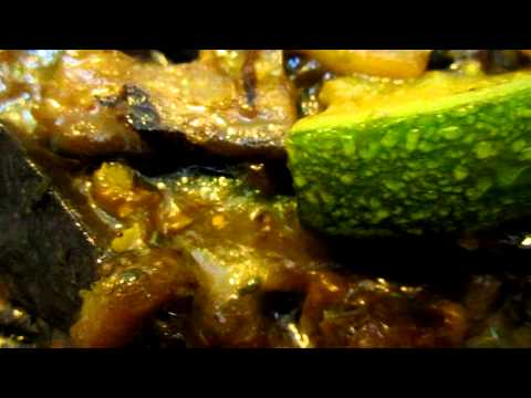 Cooking – eggplant and white squash in soy sauce