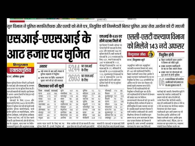 Bihar Police SI, ASI ki vacancy(Bihar Daroga ki vacancy)2018 new vacancy